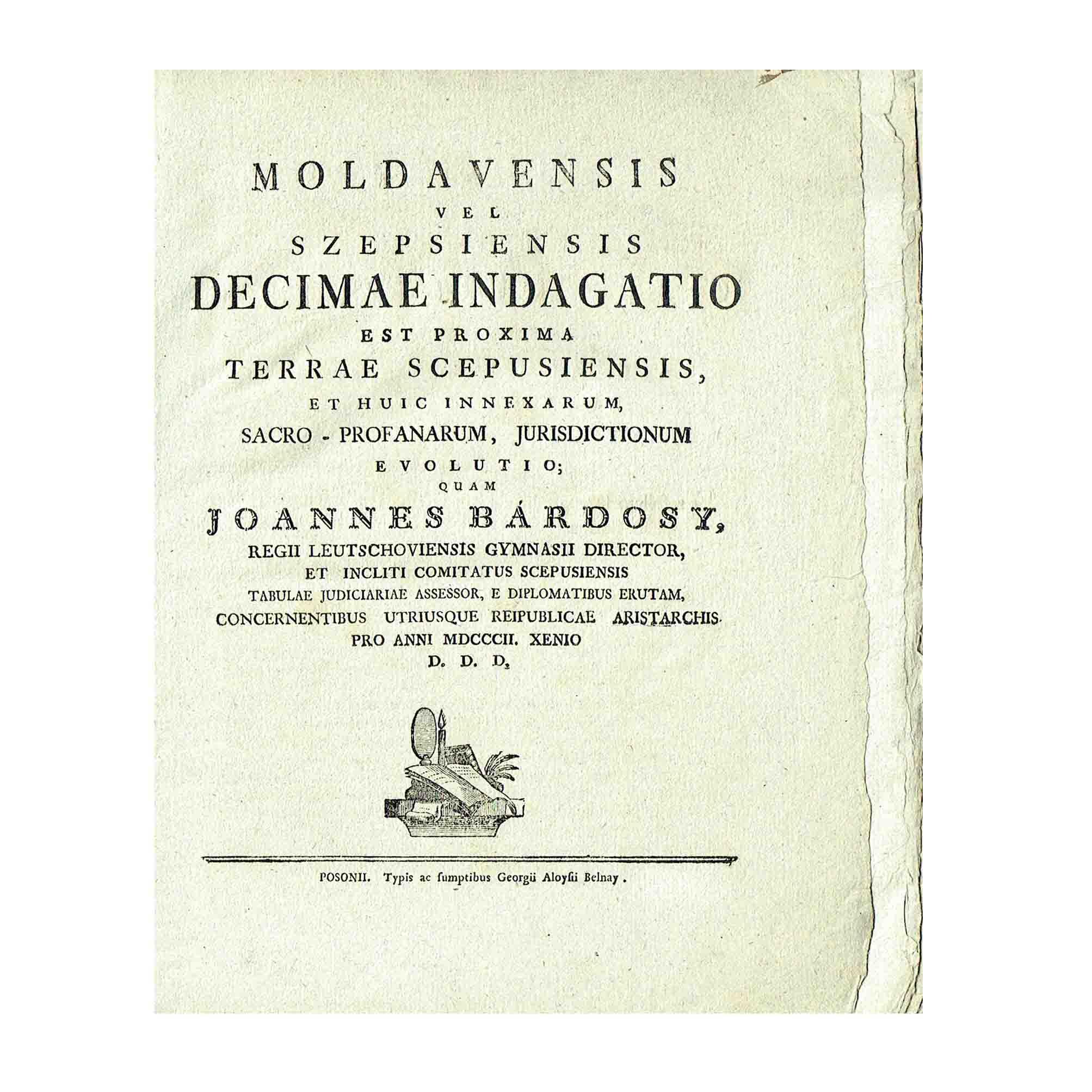 6028 Bardosy Moldavensis Decimae Indagatio 1803 Titelblatt N