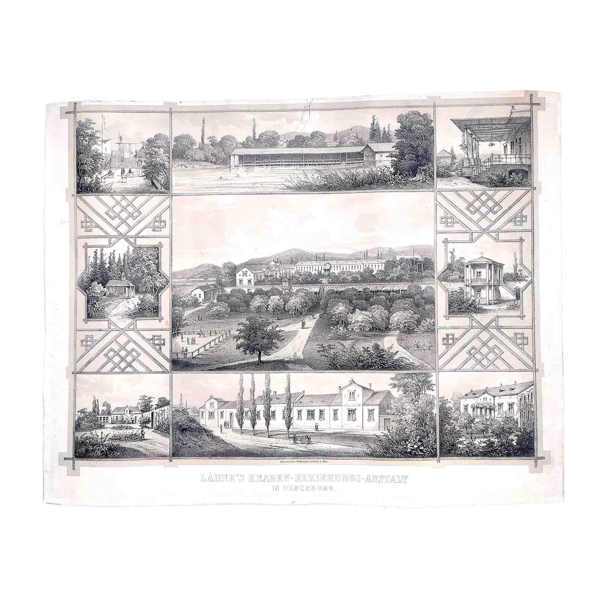 6054 Lähne Schule Ödenburg Lithografie 1860 frei N