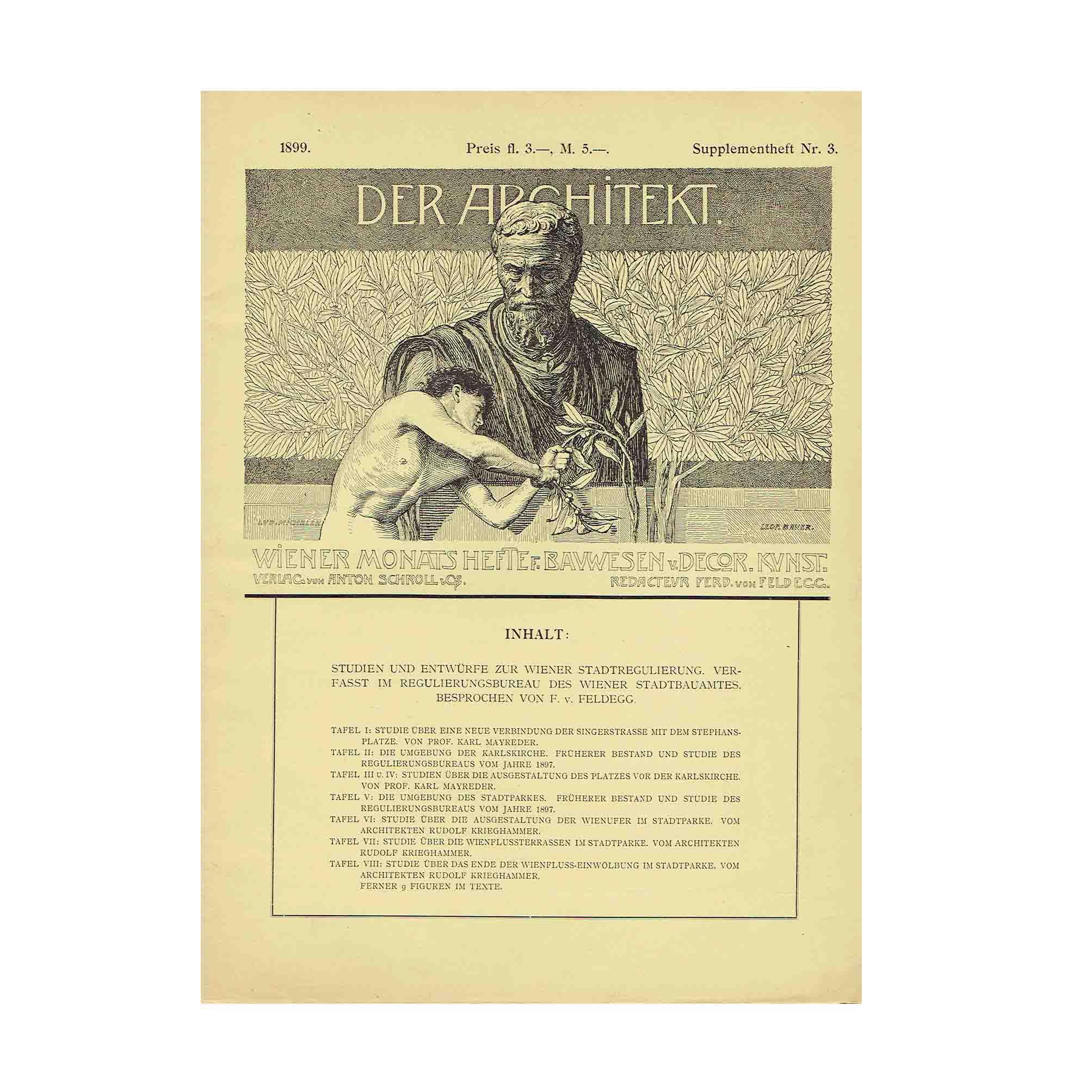 6070 Krieghammer Mayreder Architekt Jugendstil Wien 1899 Umschlag N