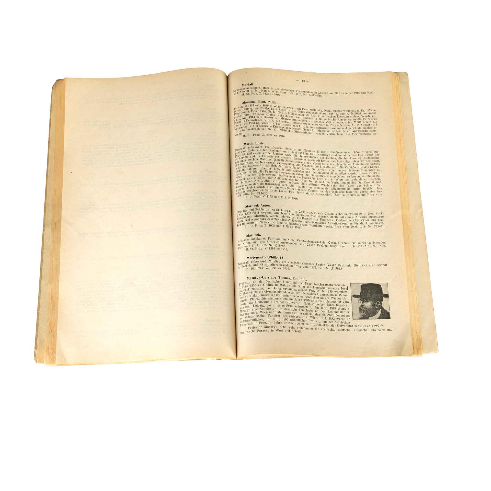 6084 Austrian Traitors List Joyce 1917 Masaryk N
